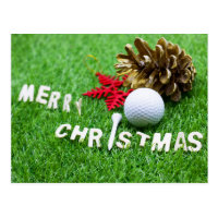 Merry Christmas card with golf ball and pine cone