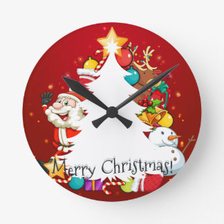 Merry Christmas card with Santa and tree Round Clock