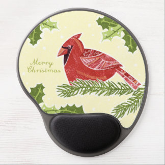 Merry Christmas Cardinal Bird on Branch with Holly Gel Mouse Pad