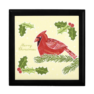 Merry Christmas Cardinal Bird on Branch with Holly Trinket Boxes