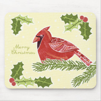 Merry Christmas Cardinal Bird on Branch with Holly Mouse Pad