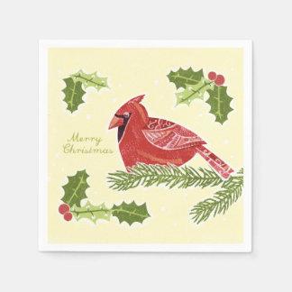 Merry Christmas Cardinal Bird on Branch with Holly Napkin