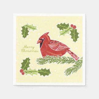 Merry Christmas Cardinal Bird on Branch with Holly Standard Cocktail Napkin