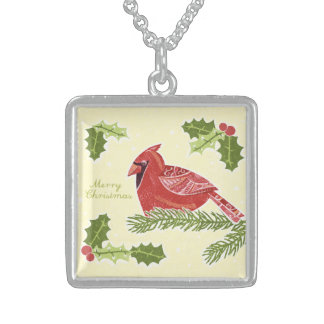 Merry Christmas Cardinal Bird on Branch with Holly Sterling Silver Necklace