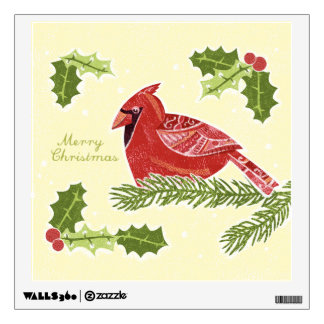 Merry Christmas Cardinal Bird on Branch with Holly Wall Decal