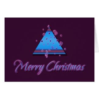 Merry Christmas cards, cool maroon blue xmas tree Card