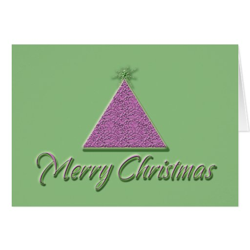 Merry christmas cards pink green cool xmas tree zazzle for Cool xmas cards
