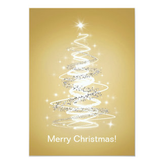 Merry Christmas Cards with Tree in Gold Custom Invitations