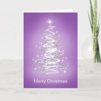 Merry Christmas Cards with Tree in Purple card