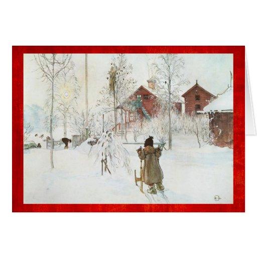 Merry Christmas Carl Larsson Vintage Winter Scene Card