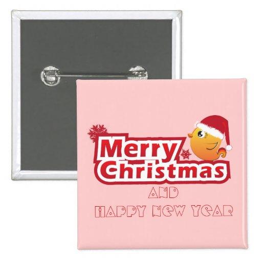 Merry Christmas cartoon baby bird button