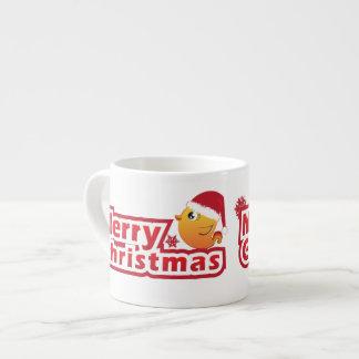 Merry Christmas cartoon baby bird Espresso Mug