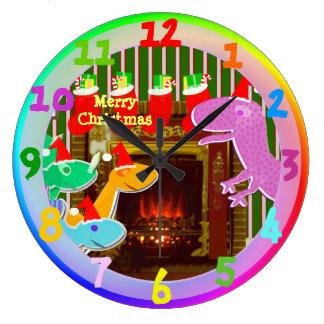 Merry Christmas Cartoon Dinosaurs by the Fireplace Wallclock