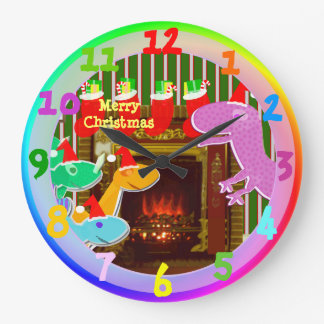 Merry Christmas Cartoon Dinosaurs by the Fireplace Large Clock