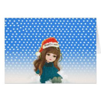 Merry Christmas cartoon Doll Card