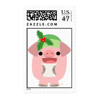 Merry Christmas!! cartoon piglet 1 postage stamp