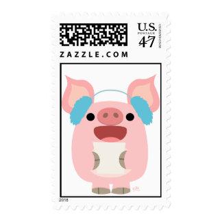 Merry Christmas!! cartoon piglet 5 postage stamp