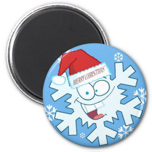 Merry Christmas Cartoon Snowflake Magnet