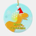 Merry Christmas Cartoon T-Rex Ornament