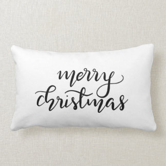 Merry Christmas Casual Handwritten Black Script Lumbar Pillow