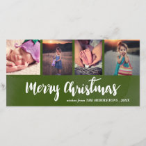 Merry Christmas Casual Script Four Photo Collage Holiday Card