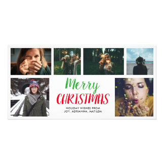 Merry Christmas Casual Script Six Photo Collage Card