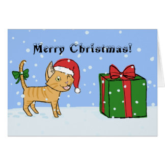 Merry Christmas Cat Greeting Card