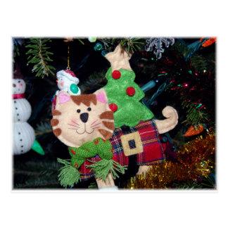 Merry Christmas Cat Ornament Postcard