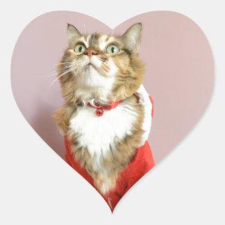 Merry Christmas cat santa puss Heart Sticker