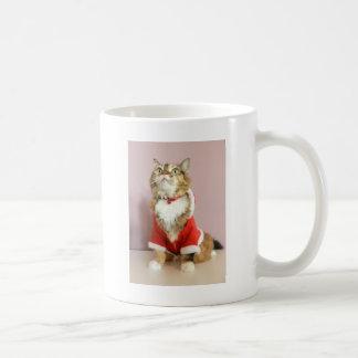 Merry Christmas cat santa puss Classic White Coffee Mug