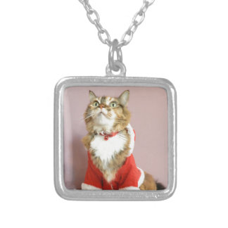 Merry Christmas cat santa puss Personalized Necklace