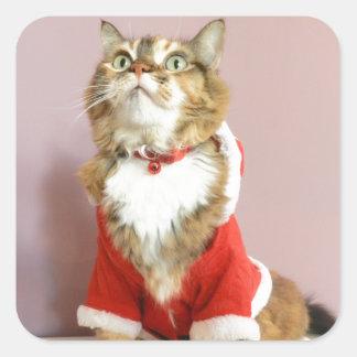 Merry Christmas cat santa puss Square Sticker