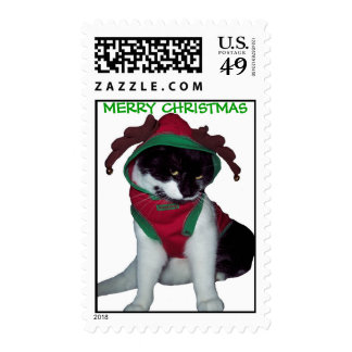 MERRY CHRISTMAS CAT STAMP
