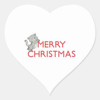 Merry Christmas Cat Heart Sticker