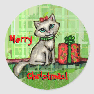 Merry Christmas Cat Stickers
