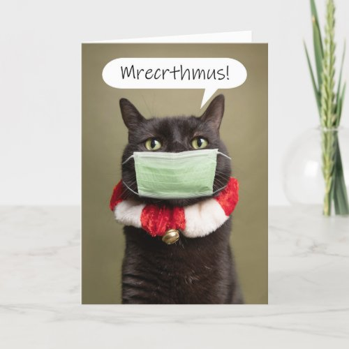 Merry Christmas Cat Talking Through Face Mask Holiday Card