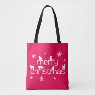 Merry Christmas Cat Tote Bag