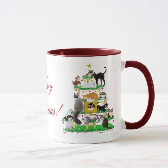 Merry Christmas Cat Tree Ringer Mug