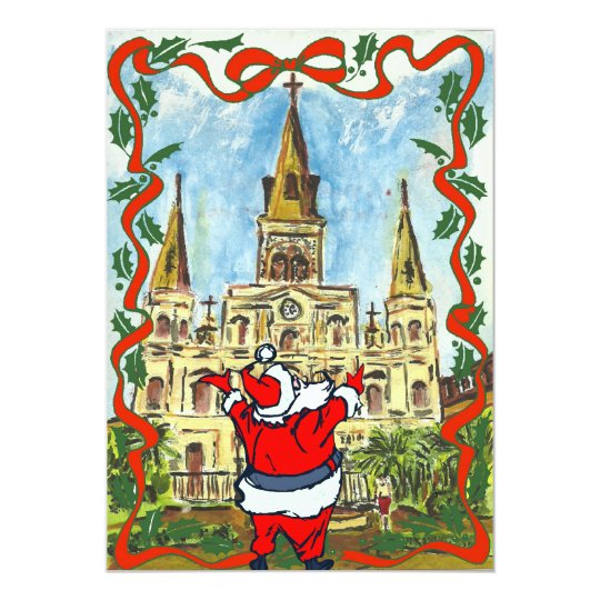Merry Christmas Cathedral Santa Card