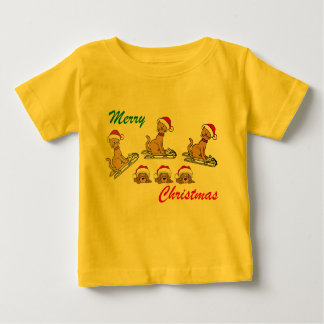 Merry Christmas Cats and dogs Christmas greeting Baby T-Shirt
