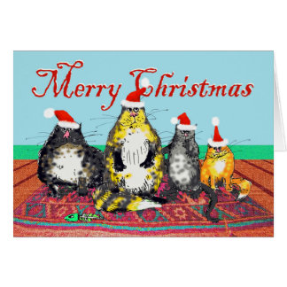 Merry Christmas Cats, Oriental rug, Santa Hats Card