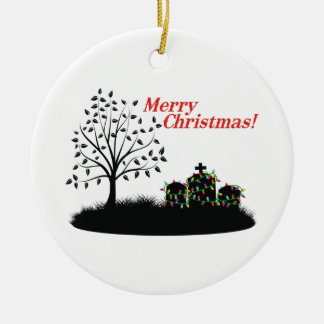 Merry Christmas! - Cemetery Double-Sided Ceramic Round Christmas Ornament
