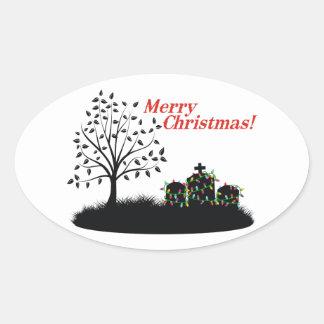 Merry Christmas! - Cemetery Oval Sticker