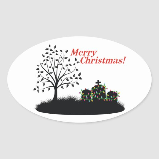 Merry Christmas! - Cemetery Oval Sticker