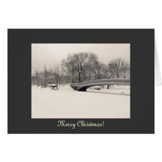 Merry Christmas - Central Park Bow Bridge Winter Card
