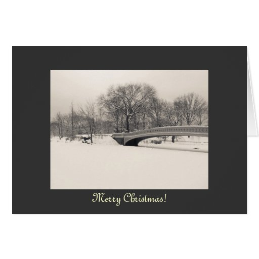 Merry Christmas - Central Park Bow Bridge Winter Greeting Card