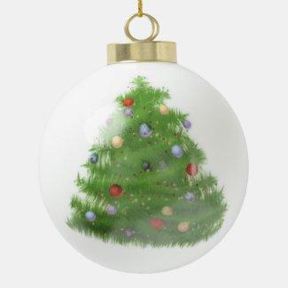 Merry Christmas Ceramic Ball Christmas Ornament