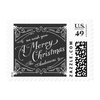 Merry Christmas Chalkboard Elegant Retro Postage