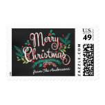 MERRY CHRISTMAS CHALKBOARD FLOWERS AND HOLLY POSTAGE