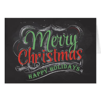 Merry Christmas Chalkboard Folded Greeting Card